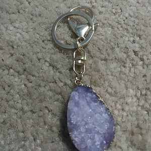 Accessories - Gold crested amethyst keychain